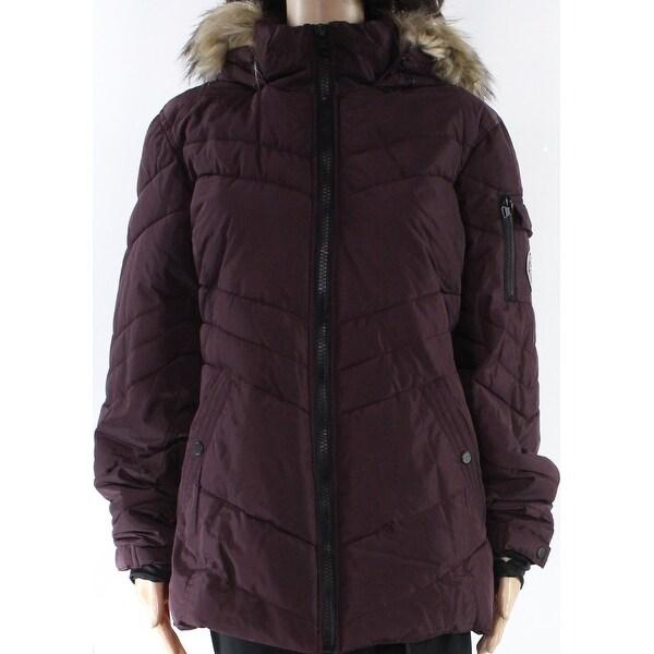 Madden Girl Purple Womens Size Large L Faux-Fur Hood Puffer Coat