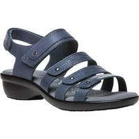 Propet Women's Aurora Strappy Slingback Sandal Blue Full Grain Leather