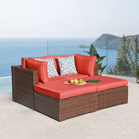 4 piece Wicker Sofa with Ottoman Patio Set