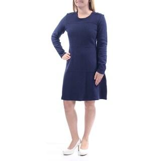 MAISON JULES $100 Womens New 1184 Navy Beaded Long Sleeve Jewel Neck Dress S B+B
