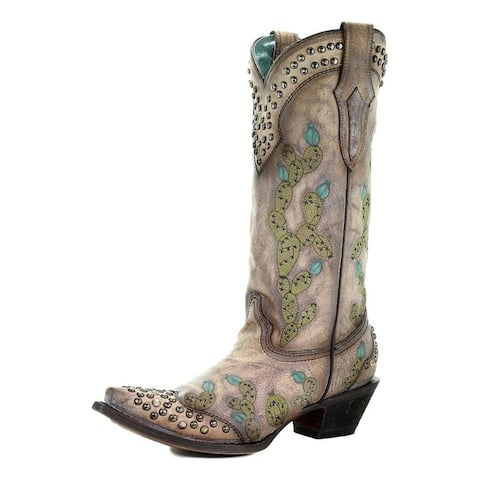 Corral Western Boots Womens Cactus Embroidery Snip Toe Studded