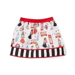 Little Girls Black White Red Stripe London Girl Printed Cotton Skirt 2T-6