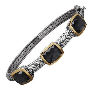 16 ct Hematite Station Bangle Bracelet in Sterling Silver & 14K Gold - Black