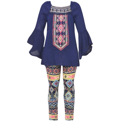 Little Girls Navy Art Deco Print Flared Cuff Top 2 Pc Legging Outfit