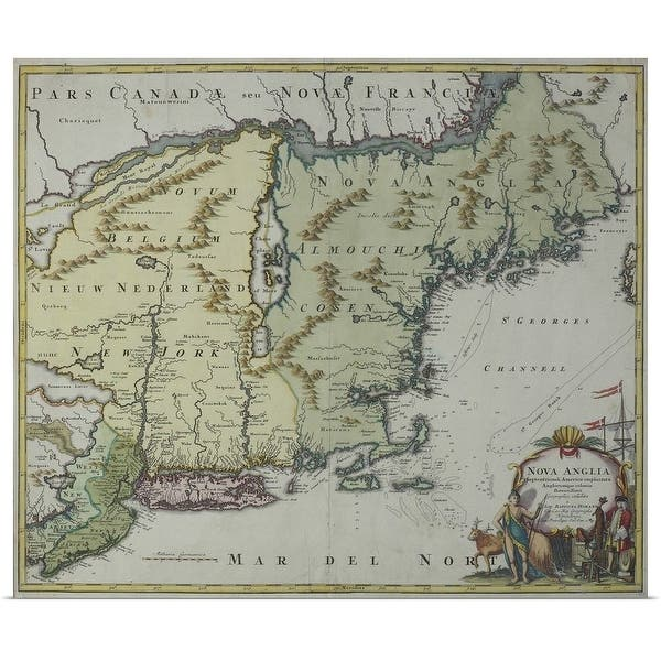 Shop Map of New England , United States - Multi-color - Free ...