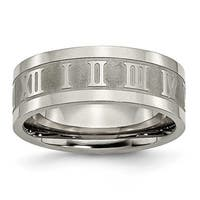 Titanium Roman Numerals 8mm Satin & Polished Band