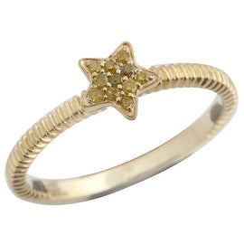 Brand New Round Brilliant Cut Real Yellow Diamond Star Shaped Fancy Ring