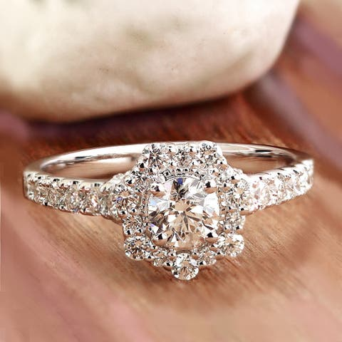 Auriya 14k Gold 2 1/4ctw Vintage Moissanite Halo Engagement Ring