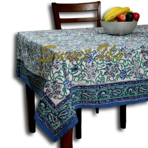 Block Print Paisley Tablecloth for Rectangle Square Round Table Cotton Blue Green