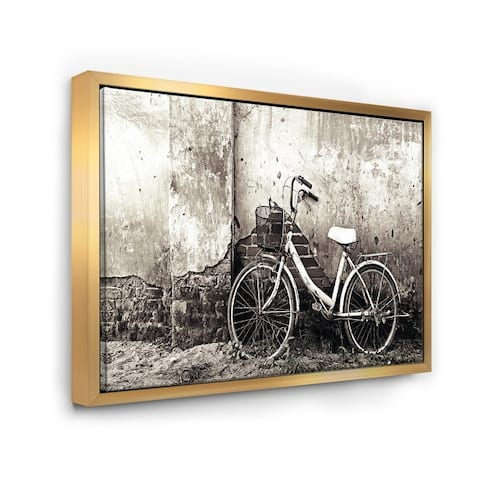 Designart 'Old Bicycle and Cracked Wall' Photography Framed Canvas Art Print