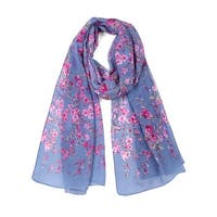 Long Chiffon Beach Scarf Silk Scarves Floral Scarves for Women Denim Blue