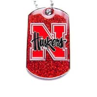 NCAA  Nebraska Cornhuskers Dog Tag Glitter Sparkle Necklace