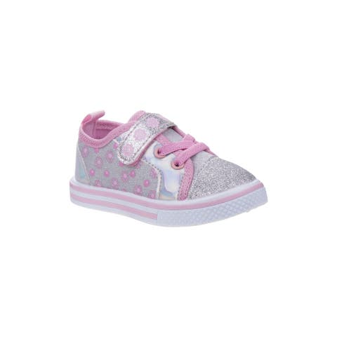 Laura Ashley Silver Pink Glitter Floral Sneakers Little Girls