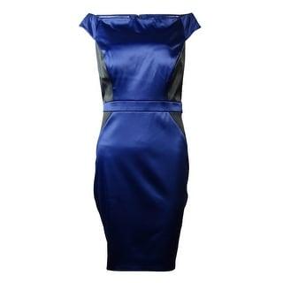 Jessica Simpson Women's Colorblock Cap Sleeve Satin Dress