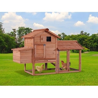 Lovupet 60'' Wooden Chicken Coop Poultry Hen House Rabbit Hutch Cage