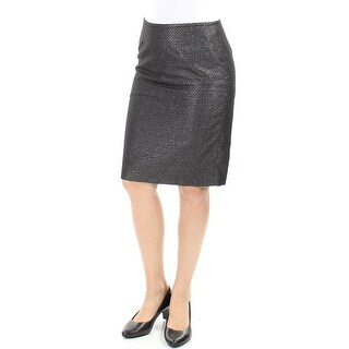 Womens Black Knee Length Pencil Wear To Work Skirt Petites Size 4
