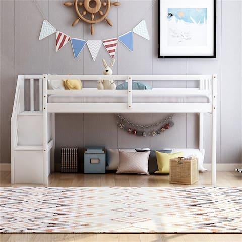 Floor loft bed, ladder with storage, twin size, white