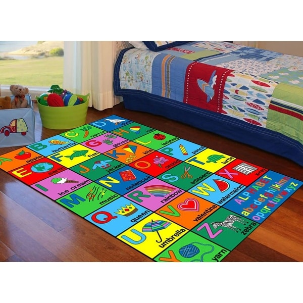 4x6 5x7 7x10 8x10 feet alphabet letters abc kids area rug girls boys carpet washable rubber. Black Bedroom Furniture Sets. Home Design Ideas
