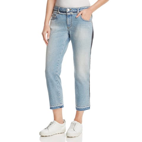 French Connection Womens Cropped Jeans Mixed Media Distressed - Indigo - 4
