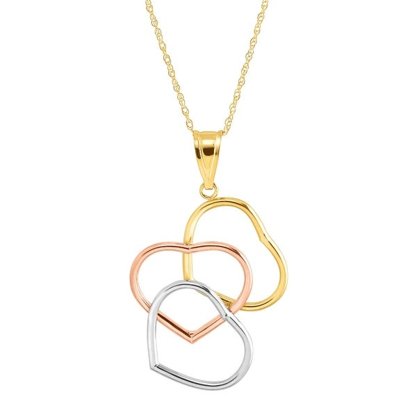 Just Gold Staggered Triple Heart Pendant in 10K Three-Tone Gold