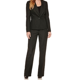 Le Suit NEW Green Womens Size 4 Striped One-Button Pant Suit Set