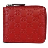 Gucci 473964 Red Leather GG Guccissima Zip Around Small Wallet - 5 x 4 inches