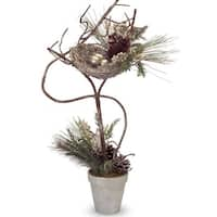 "Set of 2 Mixed Pine with Holly, Pine Cones and Nest Decorative Christmas Topiary Trees 26"" - Gold"