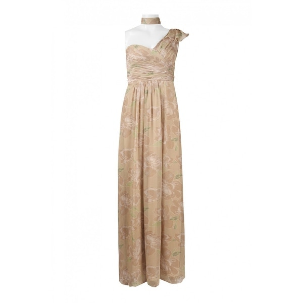 Adrianna Papell One Shoulder Ruched Dress, Champagne, 2. Opens flyout.