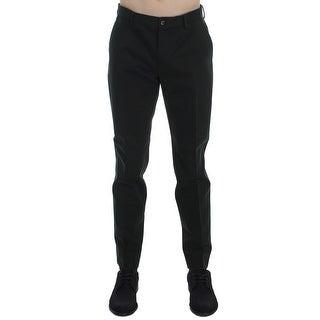 Dolce & Gabbana Green Cotton Slim Fit Casual Pants - it50-l