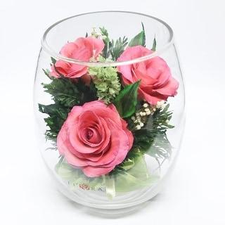 Preserved Pink Roses Floral Arrangement In A Tulip-bud Vase