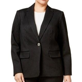 Calvin Klein NEW Black Pinstriped Women's Size 24W Plus Blazer Jacket
