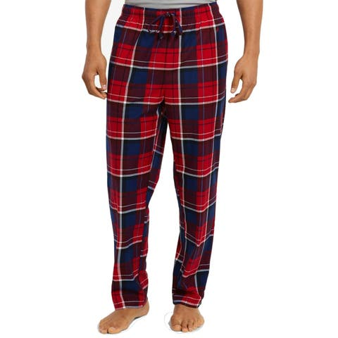Nautica Mens Sleepwear Red Size Medium M Plaid-Print Fleece Lounge Pants
