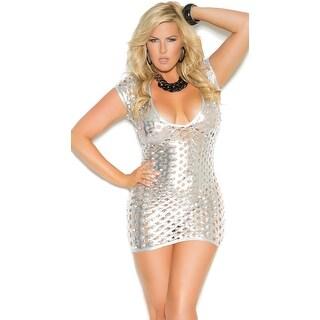 Plus Size See Right Thru You Cut Out Metallic Dress, Plus Size Hoty Silver Mini Dress