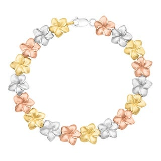 Three-Tone Floral Garland Bracelet in Sterling Silver