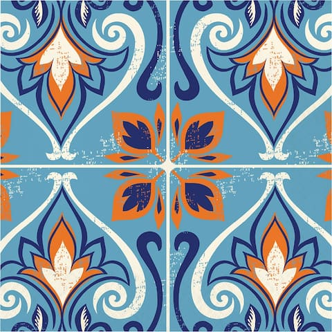 "Pack of 192 Orange and Blue Moroccan Tile Decorative Luncheon Napkin 6.5"" - N/A"