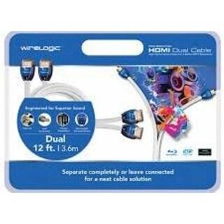 WireLogic WLCDUAL12 12-Feet HDMI Dual Cable - White (Refurbished)