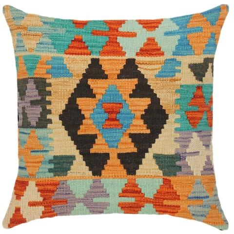 Tribal Jayna Hand-Woven Turkish Kilim Throw Pillow