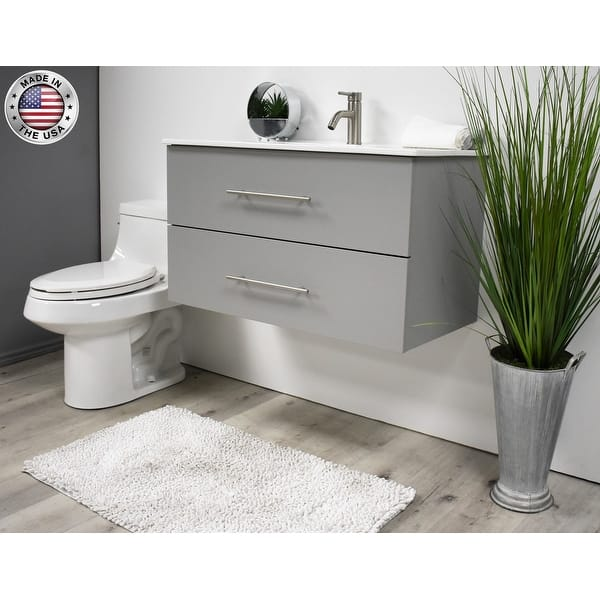 Volpa Usa Napa 30 Inch Grey Wall Mounted Floating Bathroom Vanity Set Overstock 32207297