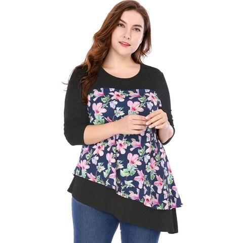 Women Plus Size Floral Prints Asymmetric Hem Layered Top - Blue