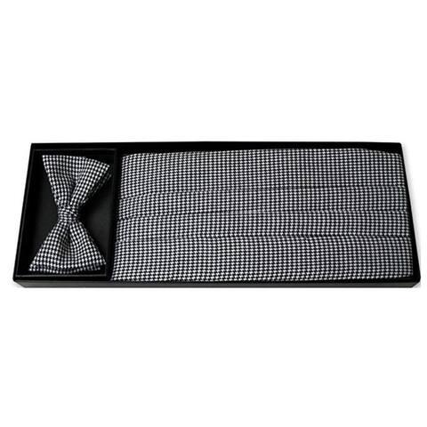 Black and White Houndstooth Tuxedo Cummerbund and Bow Tie