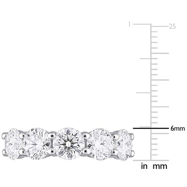Miadora 4ct DEW Moissanite 5-Stone Semi-Eternity Band Ring in 10k White Gold