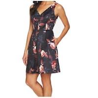 CeCe Pink Womens V-Neck Floral Print Sheath Dress