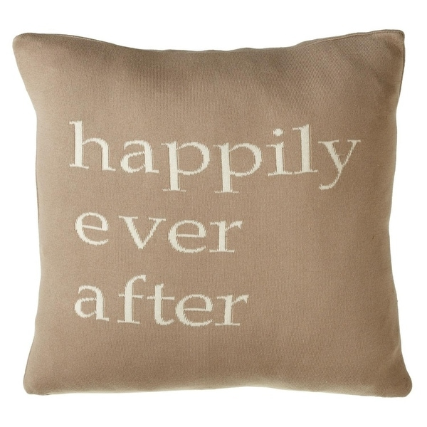 "20"" Brown and White Square ""Happily Ever After"" Quoted Throw Pillow"