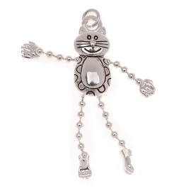 Silver Plated Dancing Kitty Cat With Dangle Limbs Charm 31mm (1)