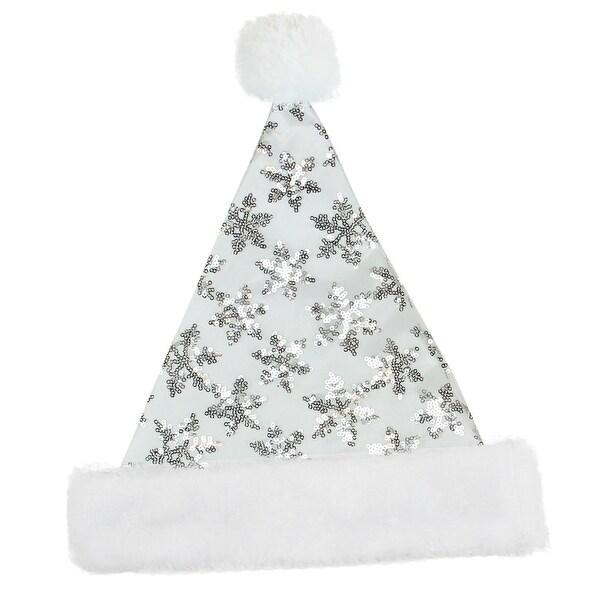 "14"" Silver Sequin Snowflake Christmas Santa Hat with Faux Fur Brim - Medium - WHITE"