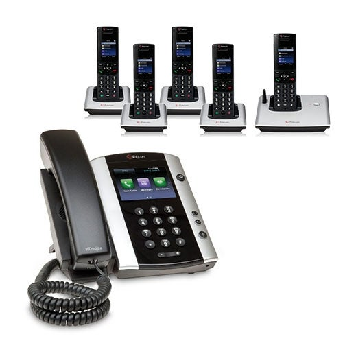 Polycom 2200-48500-001 VVX 501 12-line Business Media Phone with power supply & 5 VVX D60 Handset