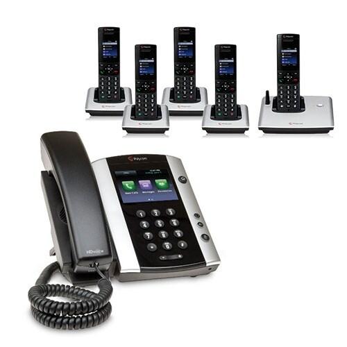 Polycom 2200-48500-025 VVX 501 Corded Business Media Phone System-12 Line PoE w/ 5 VVX D60 Handset