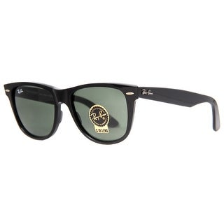 RAY-BAN Square RB 2140 Unisex 901 Black Green G15 Sunglasses - 54mm-18mm-150mm