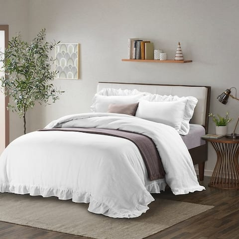Linen Duvet Cover Set-Stone Washed Ruffled Edge with Ties Closure