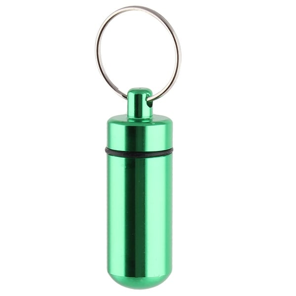 Aluminum Portable Pill Tablet Case Box Container Keyring Keychain Green